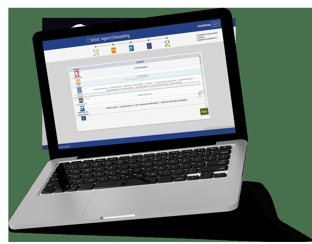 Laptop displaying SASid Onboarding Agents website